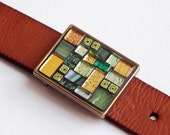 Fresh Mint - Mosaic belt  buckle with leather strap
