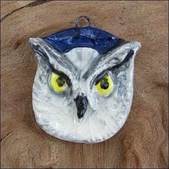 Wise owl far seeing totem sculptural ceramic pendant donated by JDaviesReazor