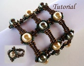 Tutorial Pearly Lace Bracelet and Ring - Beading pattern PDF