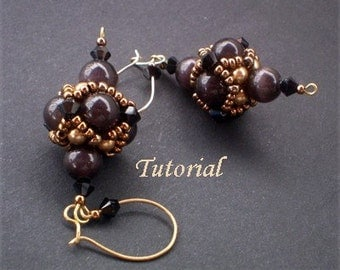 TUTORIAL Beaded Bead Earrings Two - Beaded bead, Beading Tutorials, Beading Patterns, Ellad2