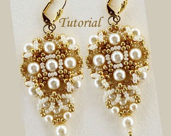 Tutorial Gold and Ivory Earrings - bead pattern PDF