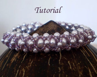TUTORIAL Lilac Clouds Bracelet - Beading pattern PDF