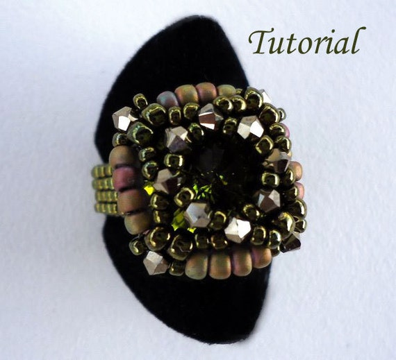 Tutorial Green Rivoli Ring - Bead patterns