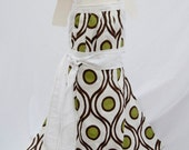 Lil Miss Emmeline Linen Brown White and Green Reversible Apron