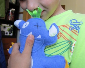 Tooth fairy blue monster pocket pillow