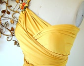 Golden Sunset Satin Daffodil Convertible Wrap Dress- Last of Fabric