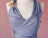 READY TO SHIP-Anchor Slate Blue Long Octopus Convertible Wrap Gown