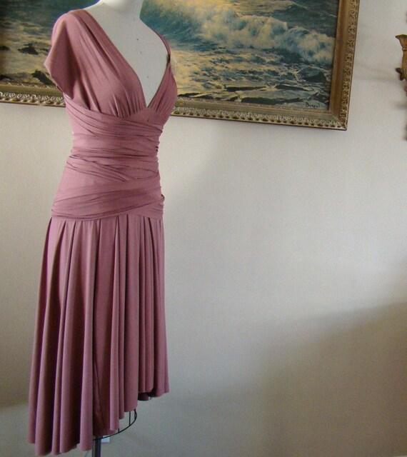 Monuments Mauve Convertible Wrap Dress-knee length