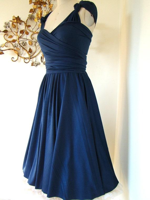 Mavericks Navy Blue Brushed Satin Convertible Wrap Dress Last