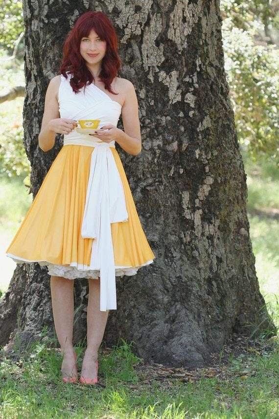 Summer's Day Tangerine Chiffon Convertible Wrap Dress