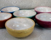 Handmade, pottery, ceramic,stoneware clay, dipping bowl, dessert bowls, set of 6, colorful
