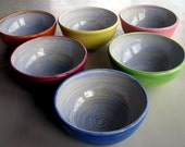 Ready to ship Handmade Bowls, Dessert bowls, pottery, ceramic, stoneware clay, wheel thrown, set of 6