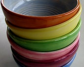 Handmade pottery, ceramic, stoneware clay cereal, soup bowl, everyday bowls, set of six, colorful
