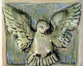 Ceramic relief tile, flying bird tile, clay tile