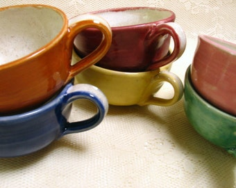 Hand made tea cups, colorful tea cups, stoneware tea cup by Leslie Freeman