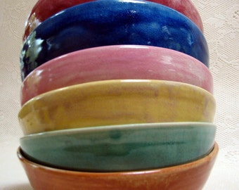 Cereal/soup bowls, pottery, ceramic, stoneware, clay, everyday colorful bowls