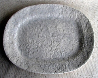 Platter, pottery white lace oval platter by leslie freeman