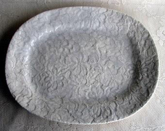Platter, Stoneware platter, Oval platter, Handmade platter by leslie freeman