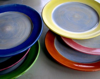 "Handmade dinner plates, wheel thrown stoneware, pottery, clay, colorful, set of 6 11"" plates made by Leslie Freeman"