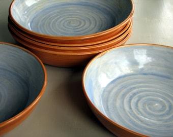 Handmade stoneware pasta bowls, stoneware pasta bowls, pottery pasta bowls by Leslie Freeman