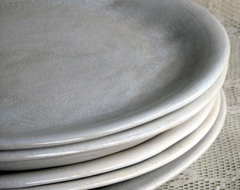 Handmade organic plates, white crackle dinner plates, rustic,stoneware, set of six, custom dinnerware by Leslie Freeman
