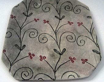 Floral Platter, Tray, Stoneware Platter, Platter by Leslie Freeman