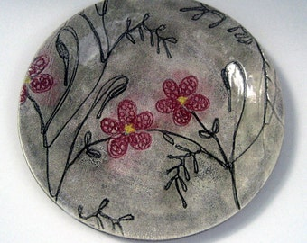 Handmade pottery ceramic stoneware clay side plate, salad plate, desert plate, flower, vintage look