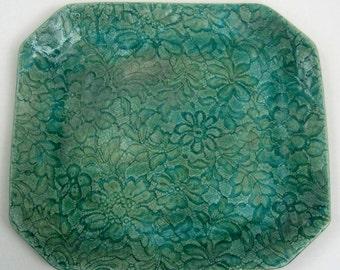 Platter, lace print, ceramic, stoneware platter, lace print by Leslie Freeman
