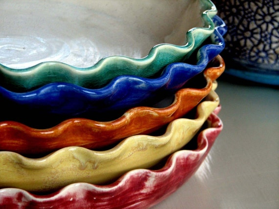 Ready to ship, Handmade Pie plates stoneware-pottery-ceramic colorful, some colors ready to ship