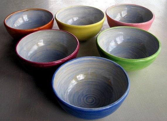 Handmade Bowls, Dessert bowls, pottery, ceramic, stoneware clay, wheel thrown, set of 6