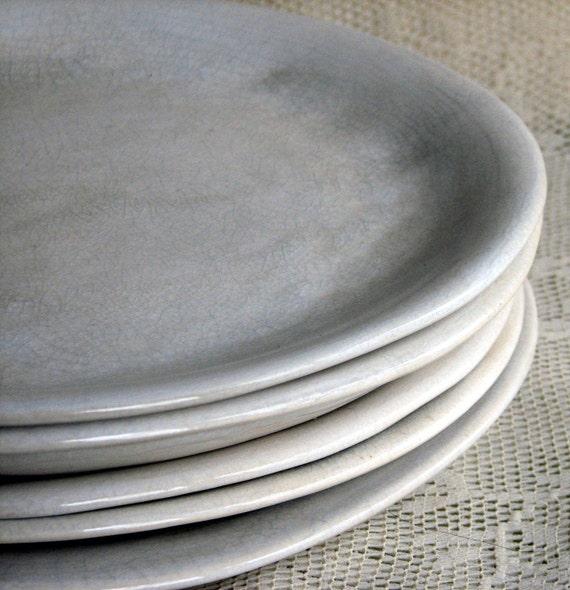 Handmade organic plates, white crackle dinner plates, rustic,stoneware, set of six, custom dinnerware by Leslie Freeman