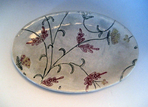 Ready to ship, Vintage look small oval plate