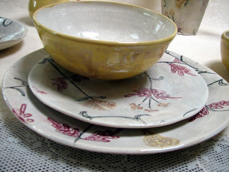 Handmade Pottery Ceramic Stoneware Clay Place Setting
