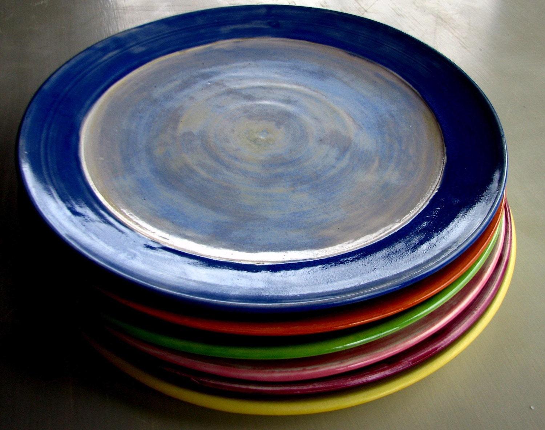 handmade dinner plates wheel thrown by lesliefreemandesigns