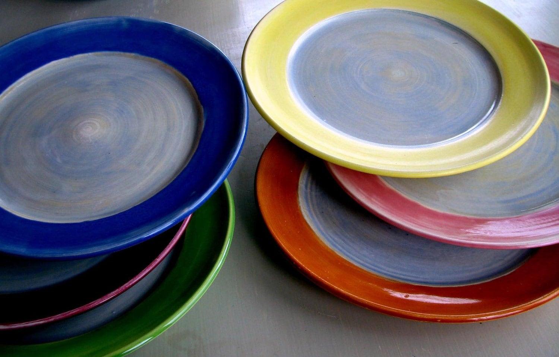 handmade dinner plates wheel thrown stoneware pottery clay