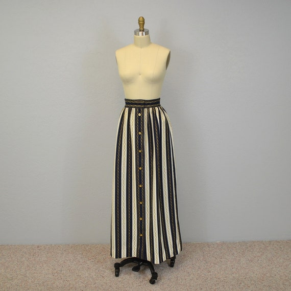 Striped Maxi Skirt / Nautical / Navy White Gold / Extra Small