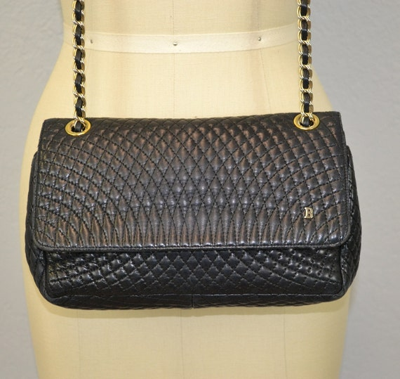 Vintage Bally Purse / Quilted Lambskin / Chain Strap / 1980s Designer