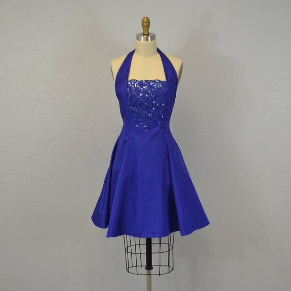 Party Dress / 1980s / halter dress / royal blue / XS