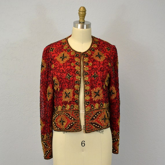 RESERVED  Vintage beaded jacket / evening wear / red / 1980s