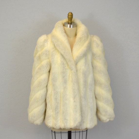 Faux fur coat / vintage Jordache / 1980s / large