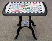 colorful vintage china mosaic tea table