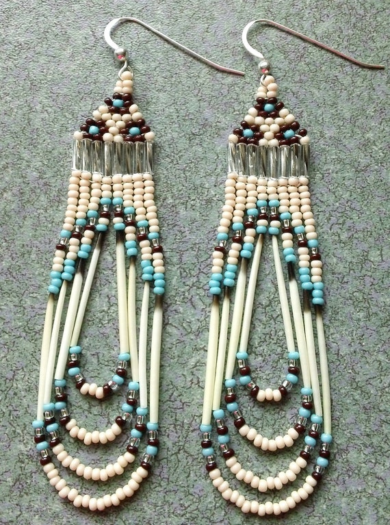 Unique Native American Beaded Quill Earrings