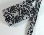 Cell Phone Wallet - Credit Card/Cash/Coin - Wristlet  - Grey Damask
