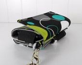 The Errand Runner - Cell Phone Wallet - Wristlet - Michael Miller's, Hoopla Dot in Lagoon/Gray