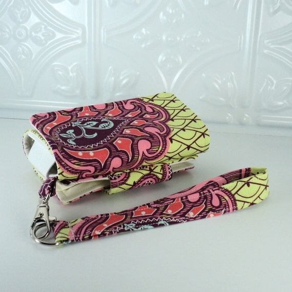 On Sale - The Errand Runner - Cell Phone Pouch/Wallet - Wristlet - Amy Butler's Arabesque in Lime/Cream