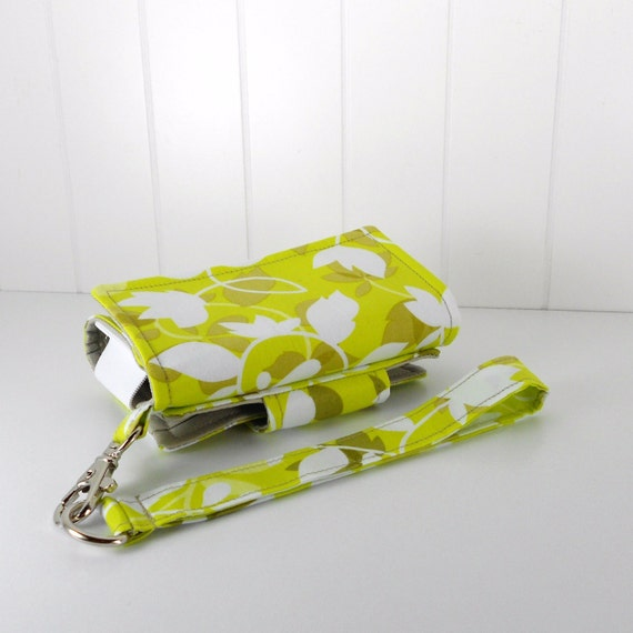 On Sale - The Errand Runner - Cell Phone Wallet - Wristlet - Fading Leaves in Forest/Khaki