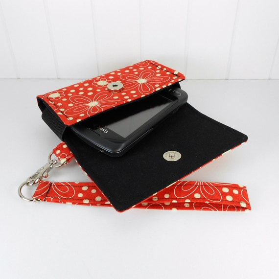 The Errand Runner - Cell Phone Wallet - Wristlet - Flowers in Cherry/Black