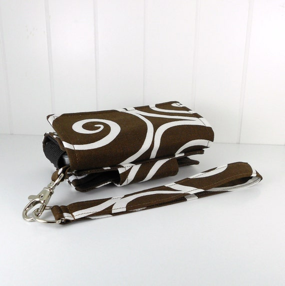 On Sale - The Errand Runner - Cell Phone Wallet - Wristlet - Michael Miller's, Ironwork in Espresso/Brown
