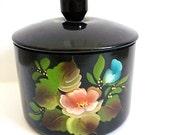 Vintage Toleware Canister Hand Painted Floral Black Tin Lid Black Knob Coffee Tea Bathroom Jar Candy Jar