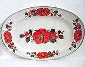 Vintage Platter Show Pans Sanko Ware Japan Serving Tray Retro Kitchen Decor Bright Orange Floral